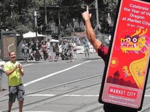 Mobile Media Backpack Billboard for Market City